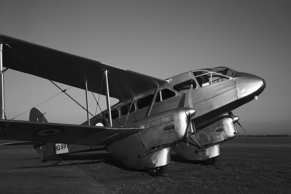 Silver De Havilland Rapide at Duxford
