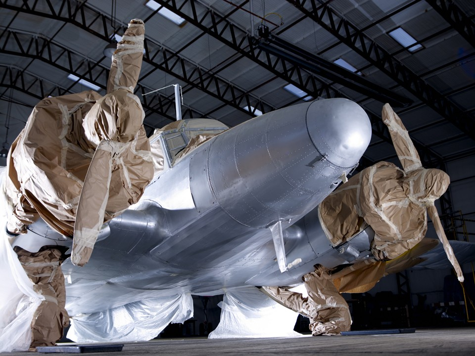 Avro Anson in the paint shopt