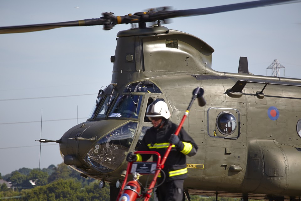 Chinook and fire fighter