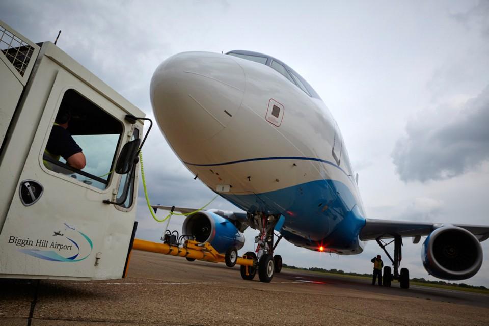 Airbus A320 Business Jet. Biggin Hill Push back