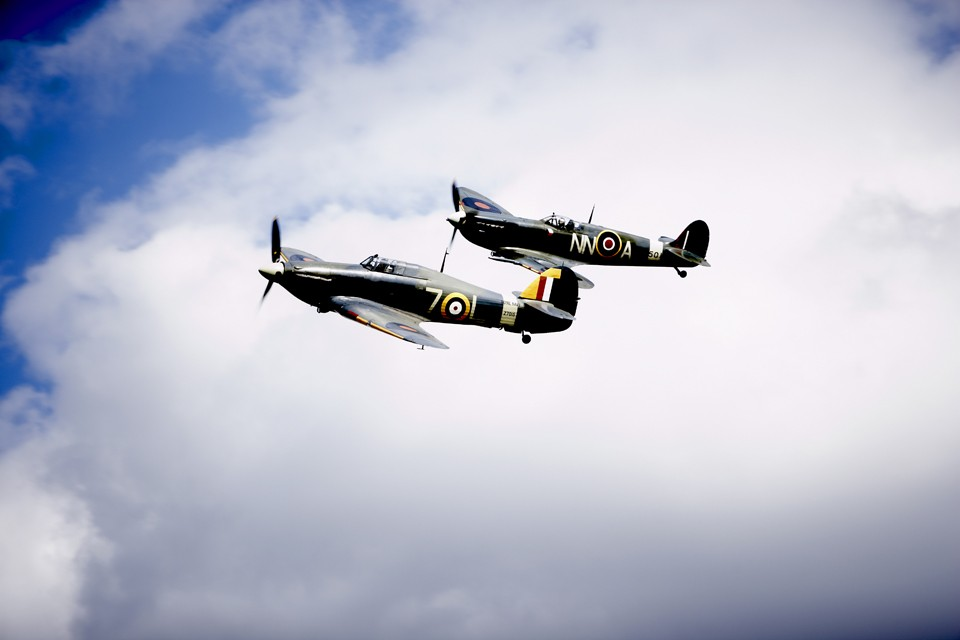 Supermarine Spitfire and Hawker Hurricane formation